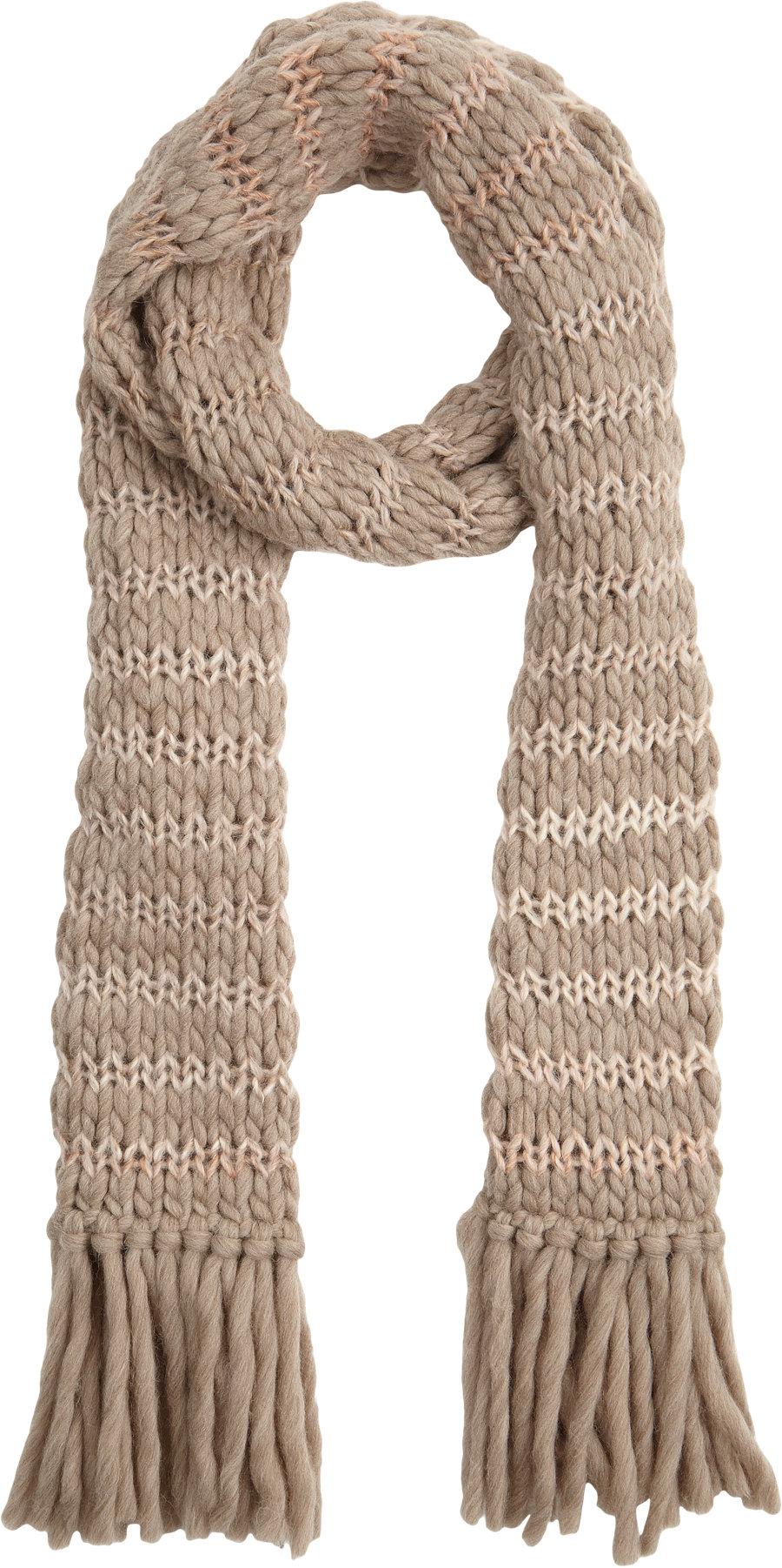 kula stripe chunky knit scarf in beige lyst