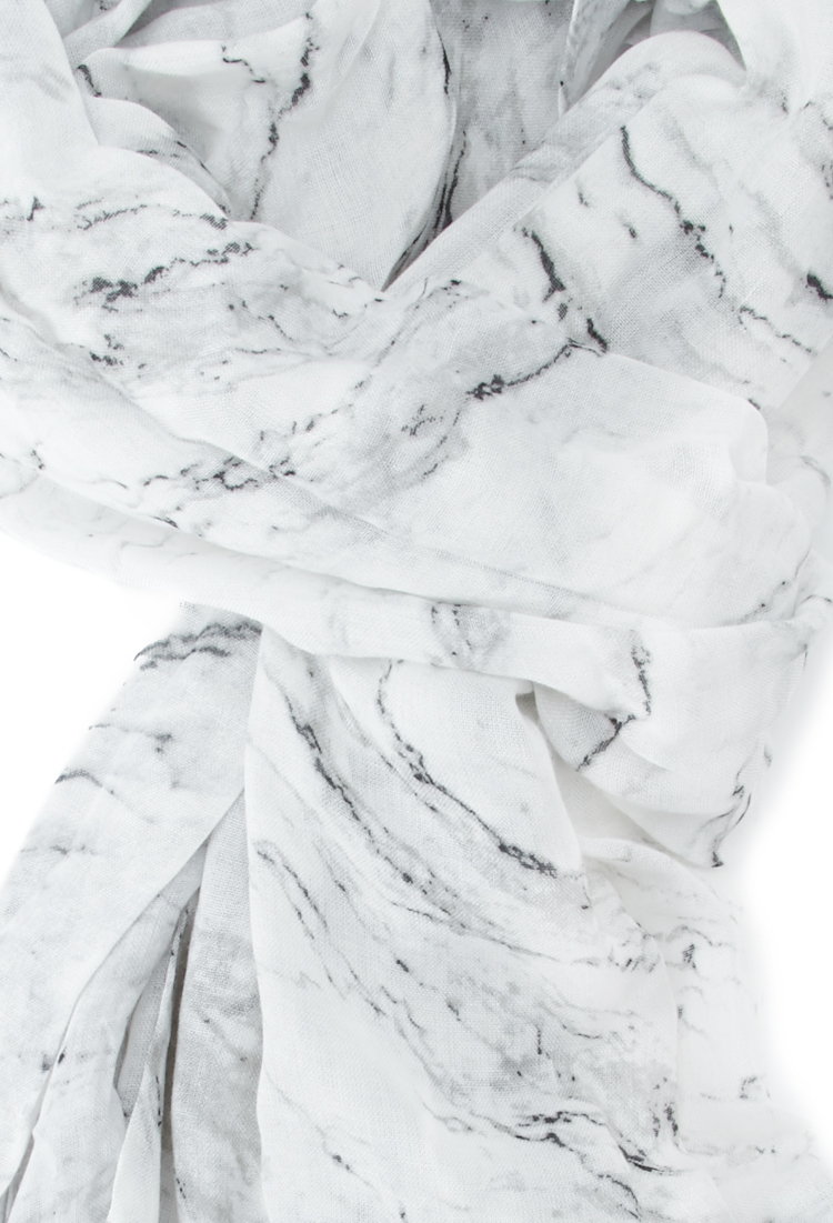 Forever 21 Frayed Marble Print Scarf In White Lyst