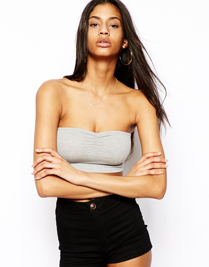 asos the crop bandeau top in gray lyst. Black Bedroom Furniture Sets. Home Design Ideas