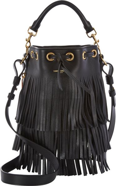 Saint Laurent Fringe Small Bucket Bag In Black Lyst