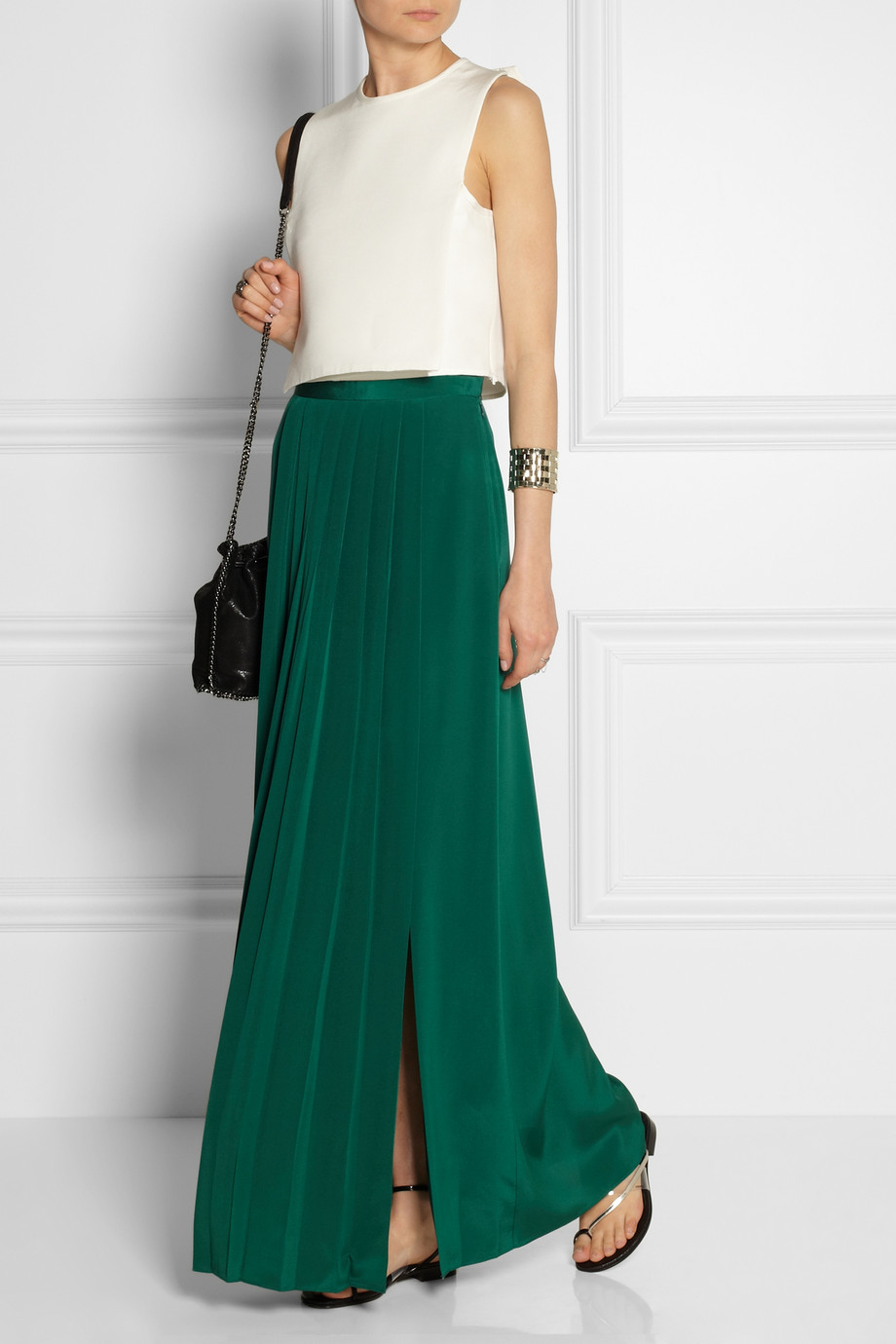 Tibi Pleated Washed-Silk Maxi Skirt in Green | Lyst