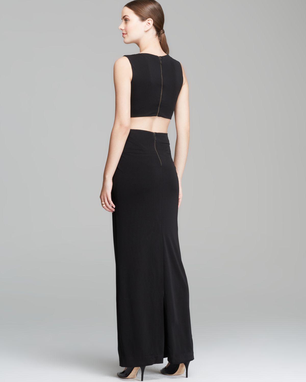 Lyst - Nicole Miller Gown Sleeveless Column Cutout Jersey in Black
