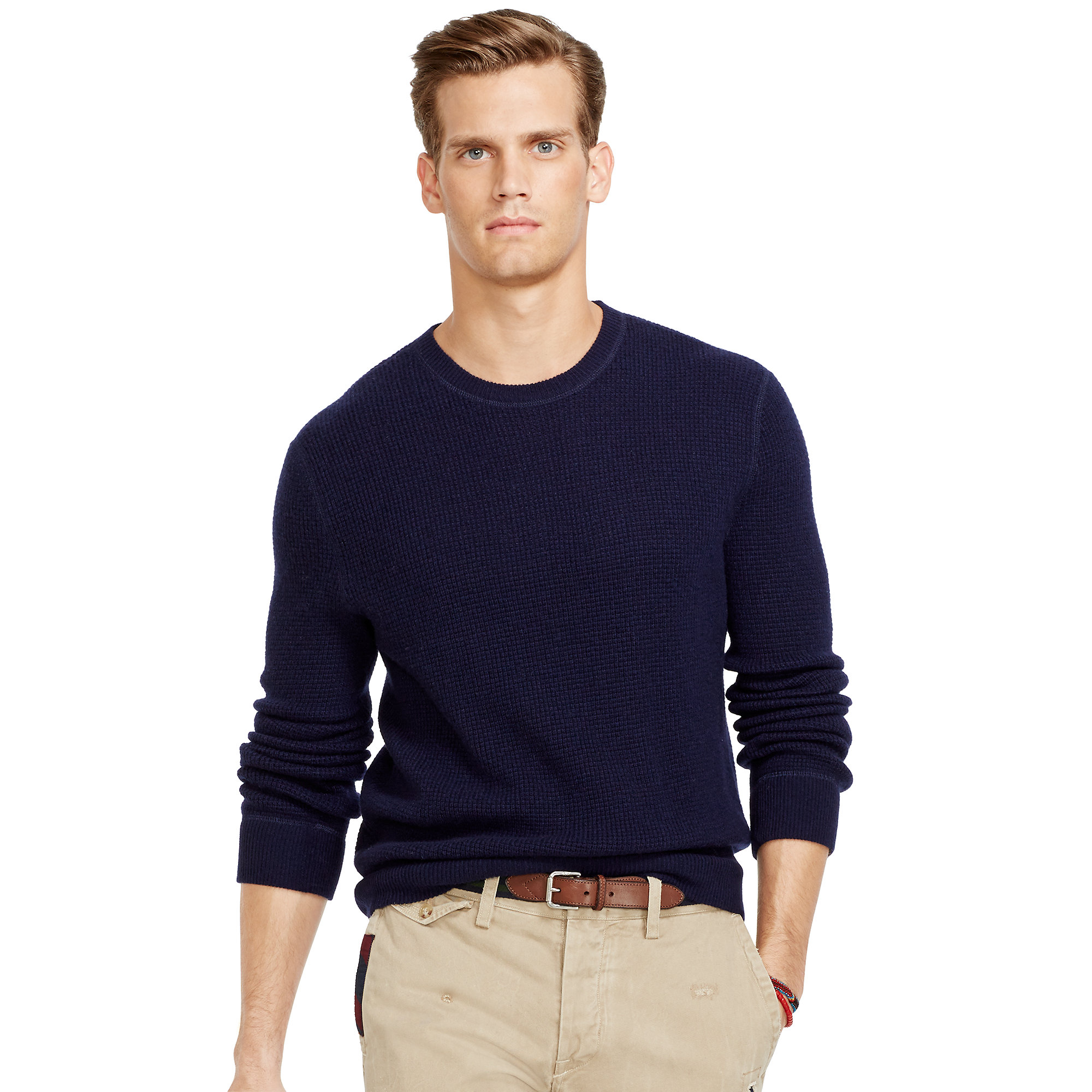 4fb2e946a1c98 Ralph Lauren Waffle-Knit Cashmere Sweater in Blue for Men - Lyst