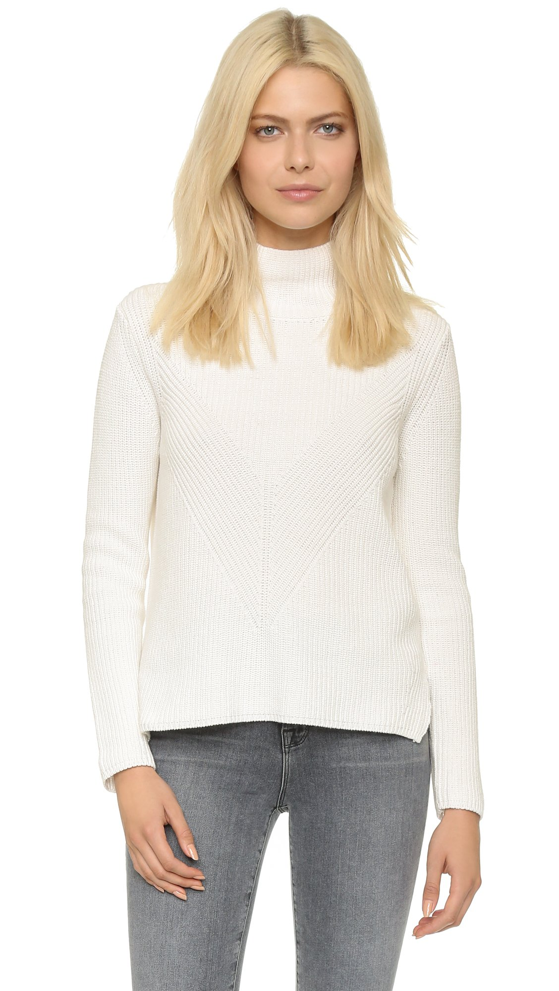 525 america Shaker Mock Neck Sweater - Olive Moss in White | Lyst
