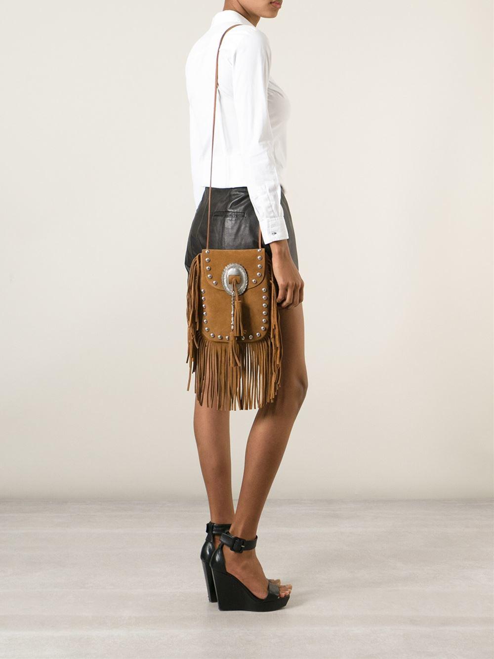 e94d4726e3b4 ... Tan Anita Mini Flat Shoulder Bag W Fringe