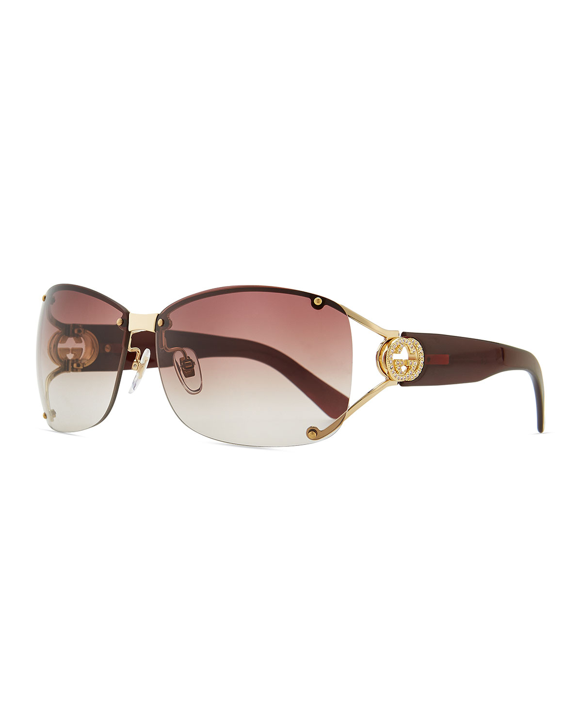 79fde8c8ec7 Lyst - Gucci Oval Gradient Sunglasses With Open Gg Temple in Metallic
