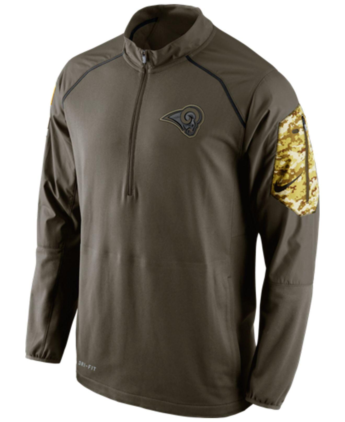 apparel hoodies nike mens st. louis rams salute to service hybrid quarter zi