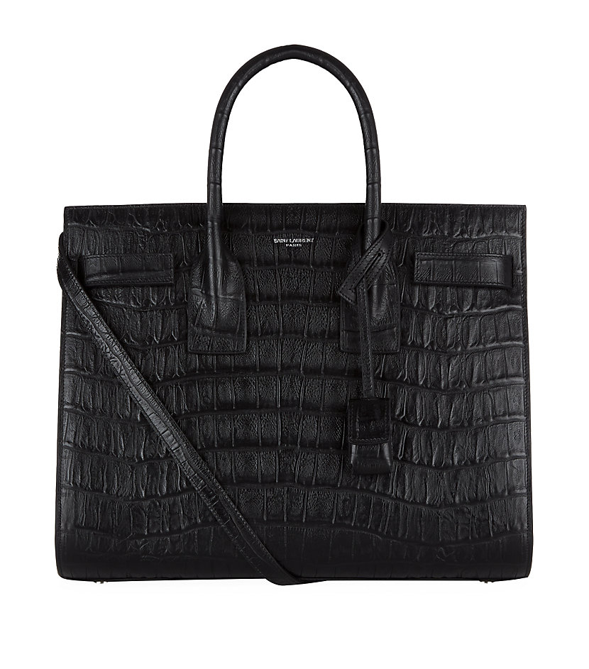 saint laurent small croc sac de jour bag in black lyst. Black Bedroom Furniture Sets. Home Design Ideas