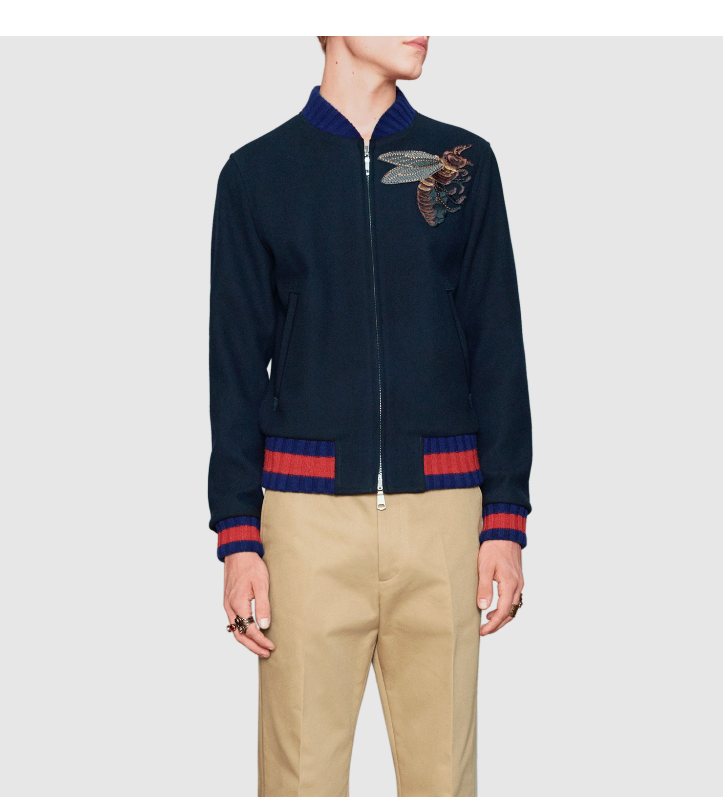 640ed9e02 Gucci Wool Bomber Jacket With Bee Appliqué in Blue for Men - Lyst