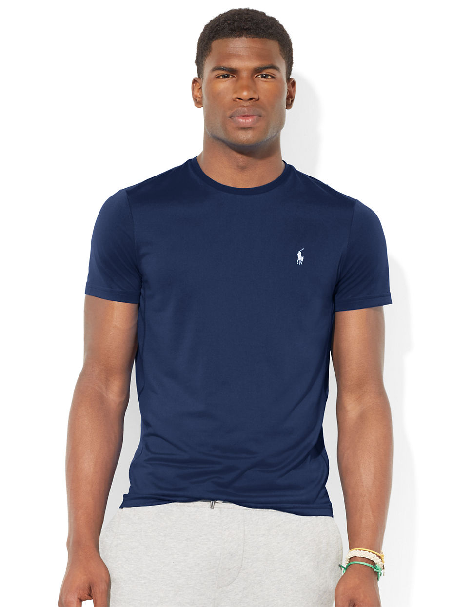 polo ralph lauren performance jersey crewneck t shirt in blue for men. Black Bedroom Furniture Sets. Home Design Ideas