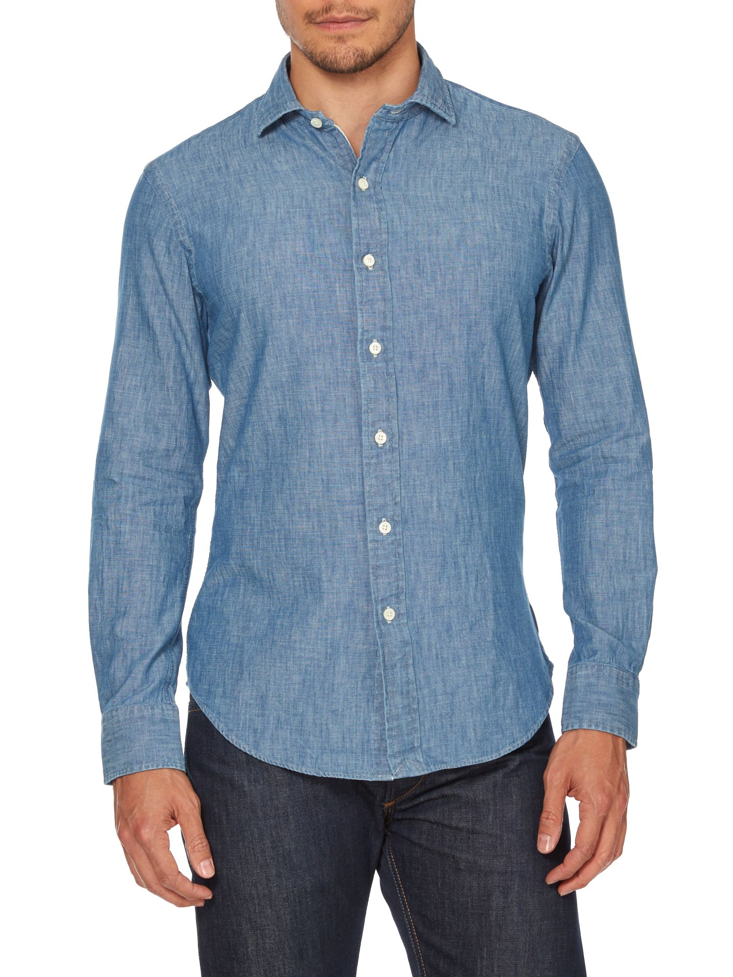 Polo ralph lauren long sleeve slim fit spread collar shirt for What is a spread collar shirt