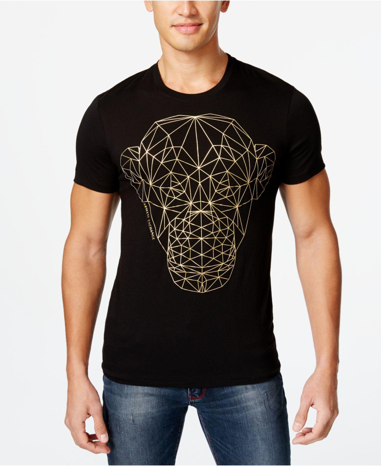 Armani exchange men 39 s lunar new year monkey graphic print for Black armani t shirt
