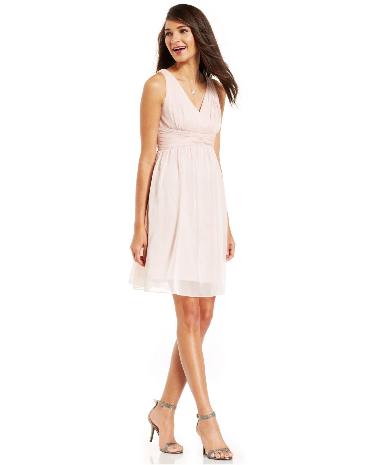 Adrianna papell Sleeveless Pleated Empire-Waist Dress in Pink | Lyst