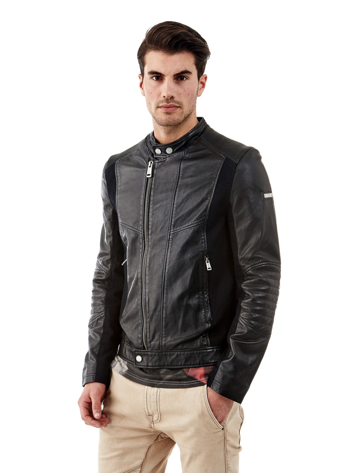 Guess Biker-style Leather Jacket in Black for Men