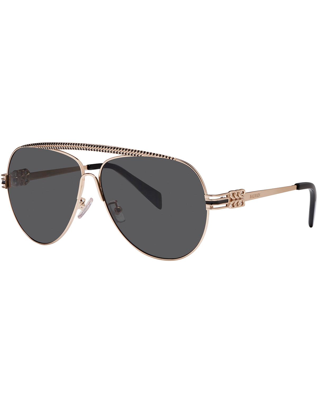Balmain Studio Aviator Sunglasses  balmain metal chain rim aviator sunglasses in metallic lyst