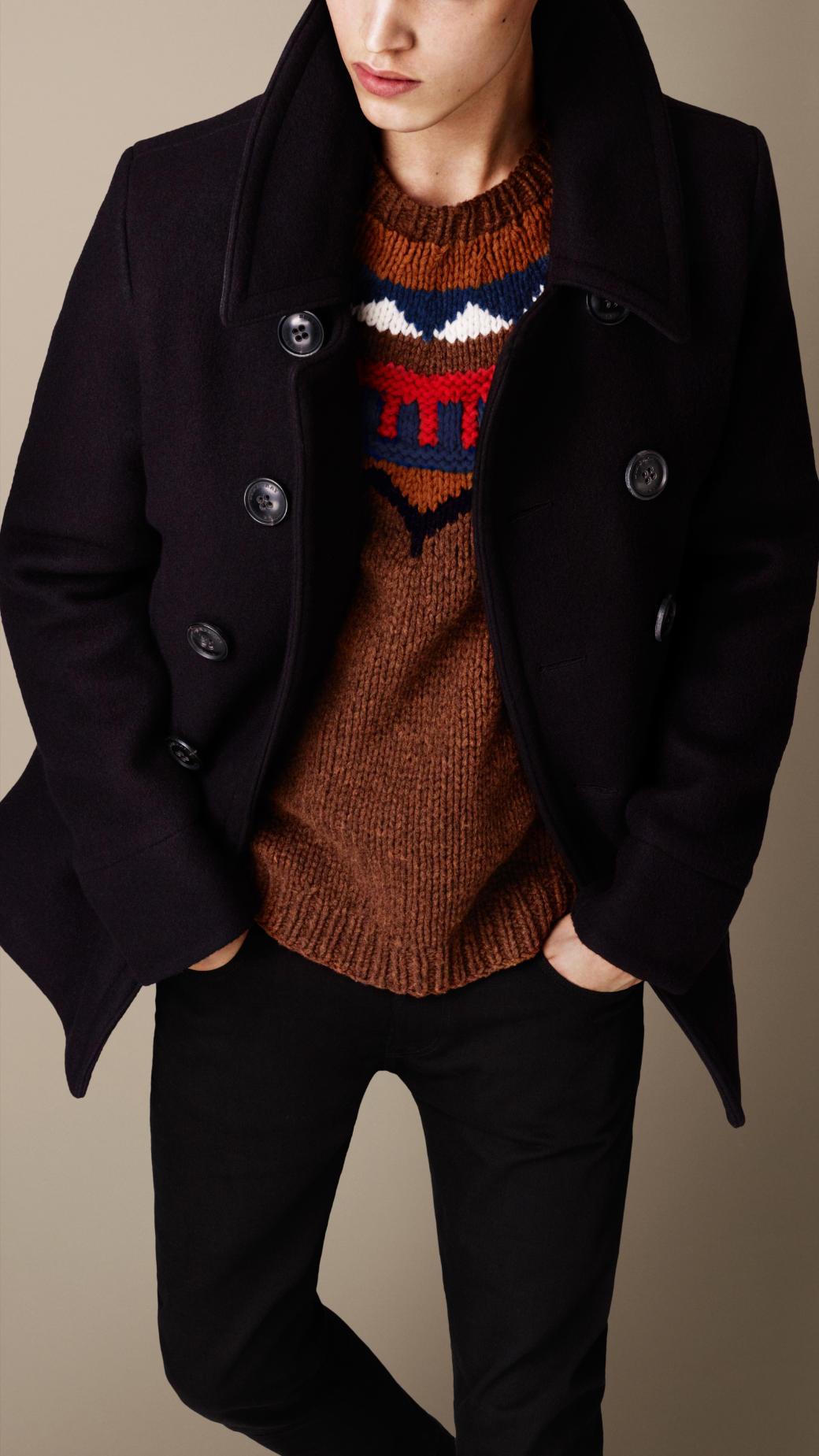 Burberry Melton Wool Blend Pea Coat in Blue for Men | Lyst
