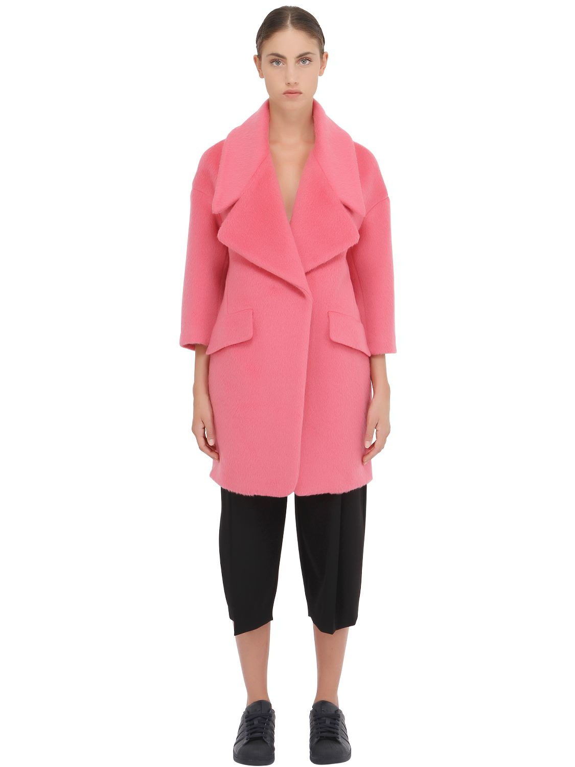 Space style concept Mohair Wool Blend Coat in Pink   Lyst