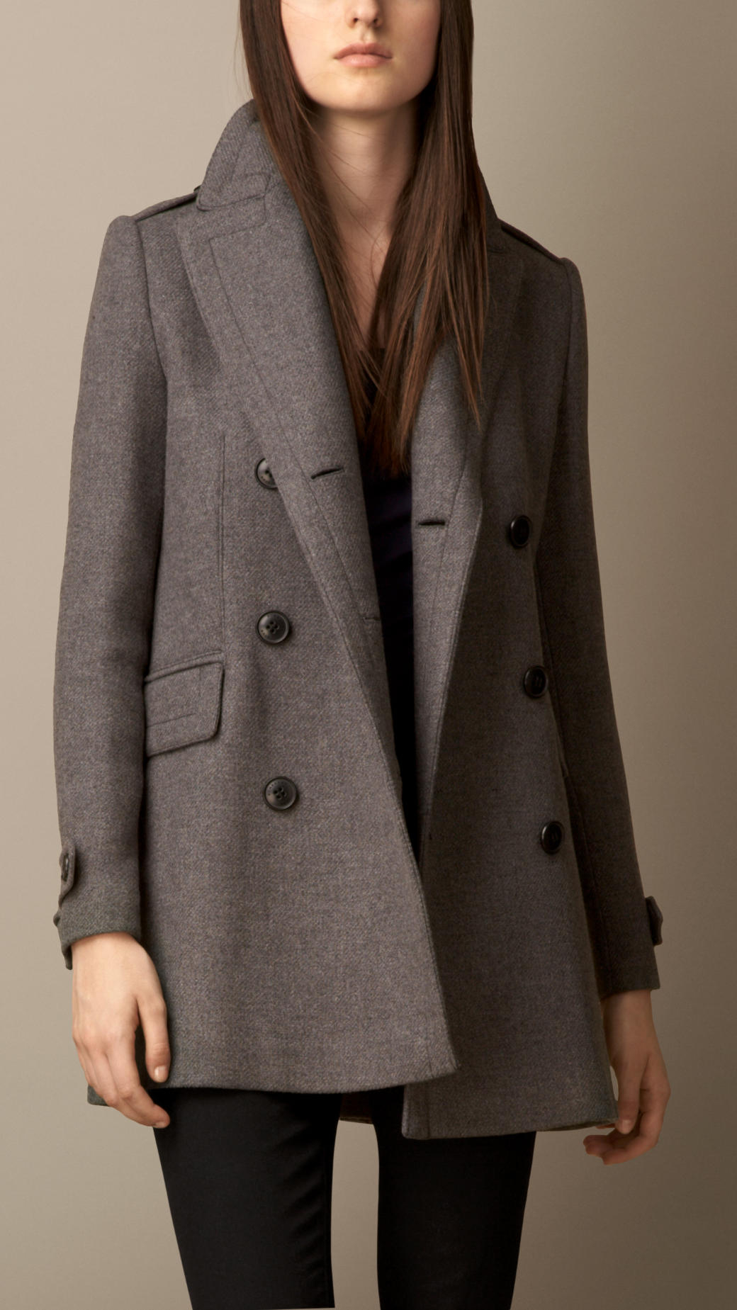 Burberry Oversize Pea Coat With Leather Undercollar in Gray | Lyst
