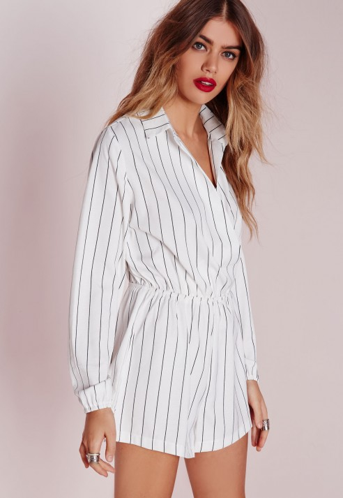 94cd716afd Lyst - Missguided Stripe Wrap Front Shirt Playsuit Monochrome in White
