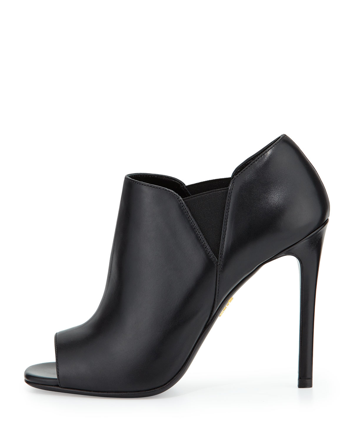 prada open toe leather high heel bootie in black nero lyst. Black Bedroom Furniture Sets. Home Design Ideas