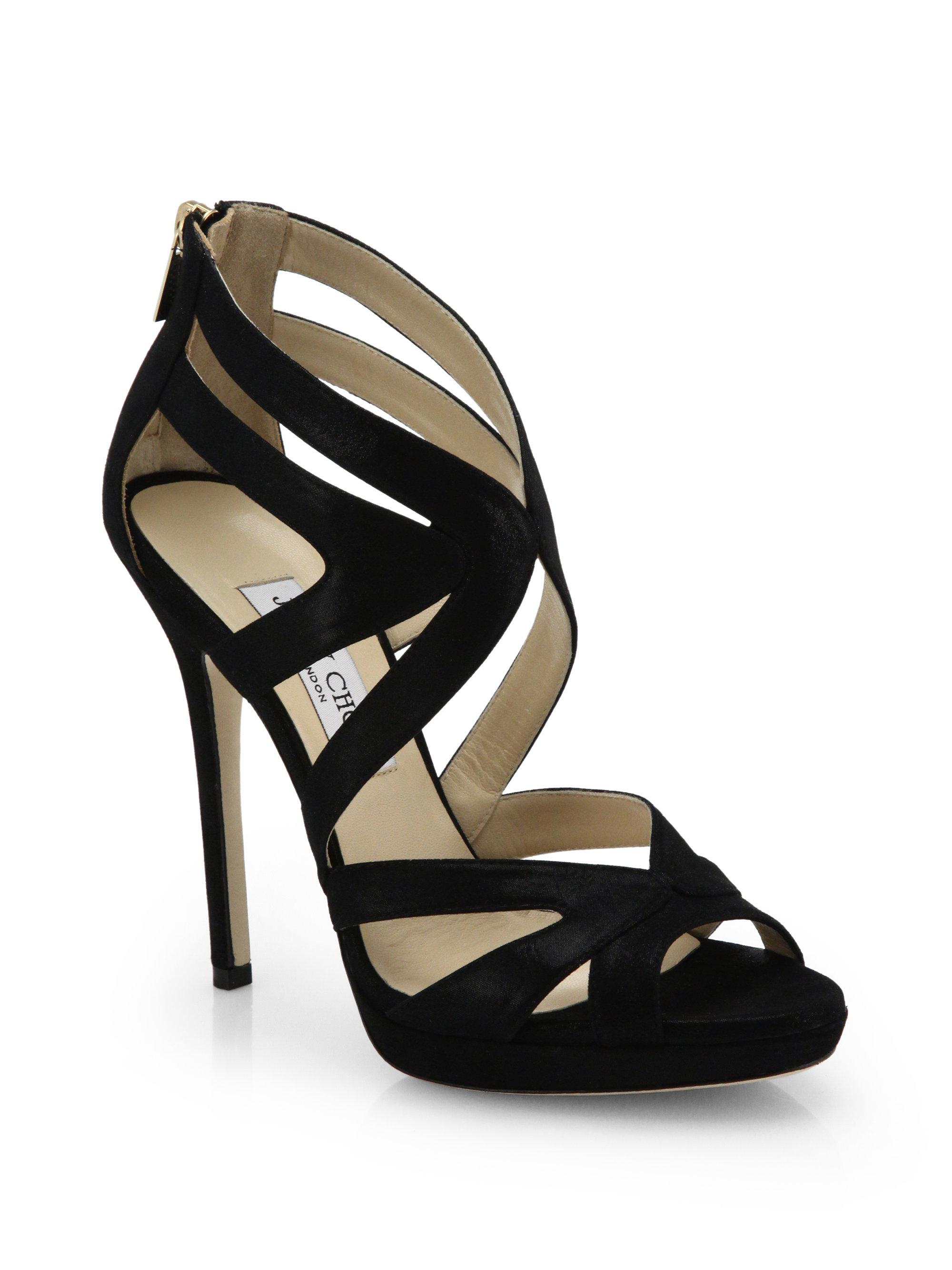 Jimmy Choo Collar Shimmer Leather Women Platform Sandals black