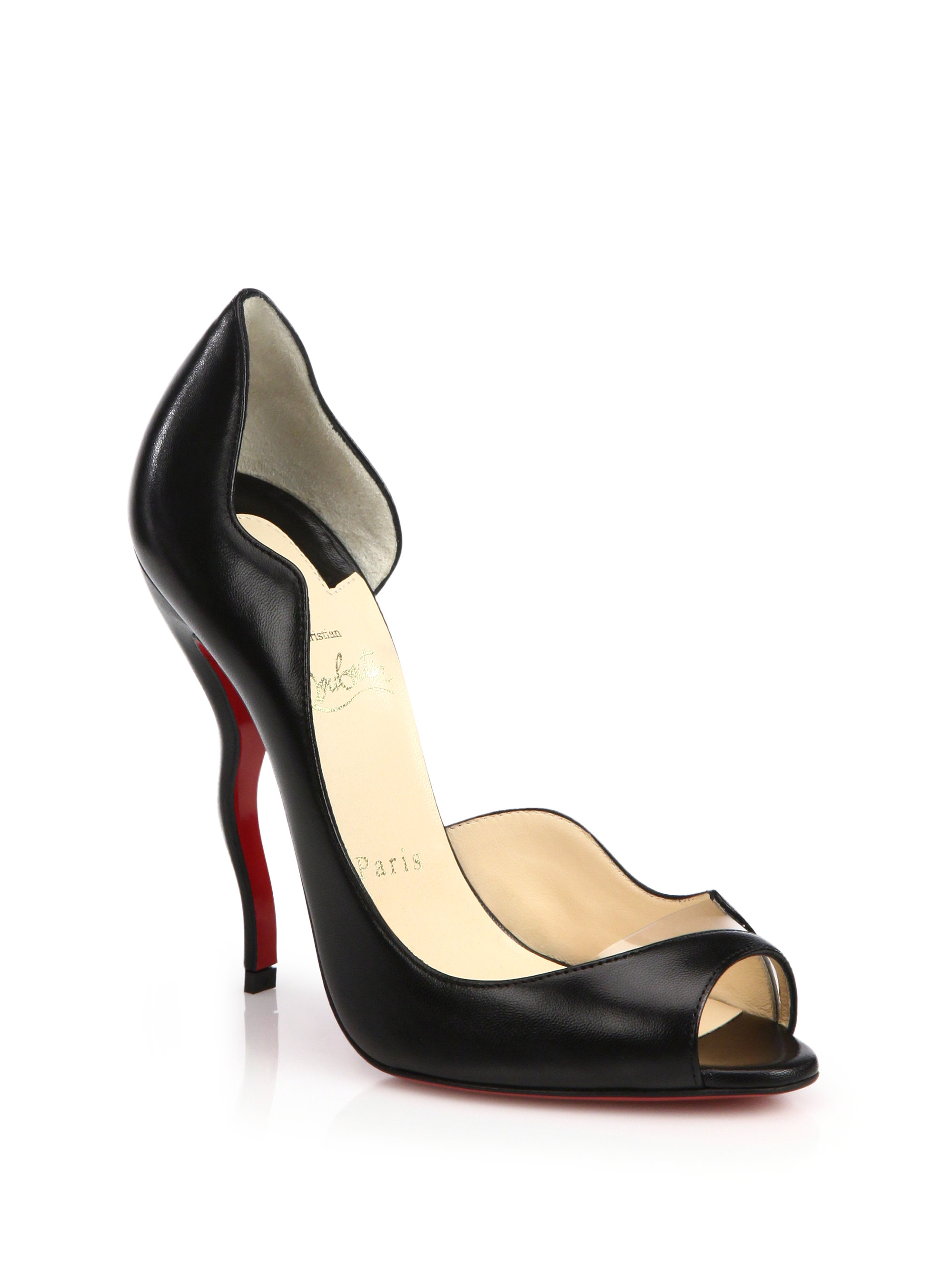 Christian louboutin Wavy Open-Toe D\u0026#39;Orsay Pumps in Black | Lyst