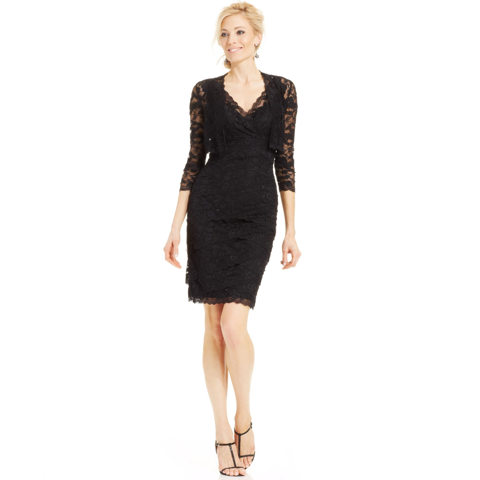 Black lace cocktail dress by marina