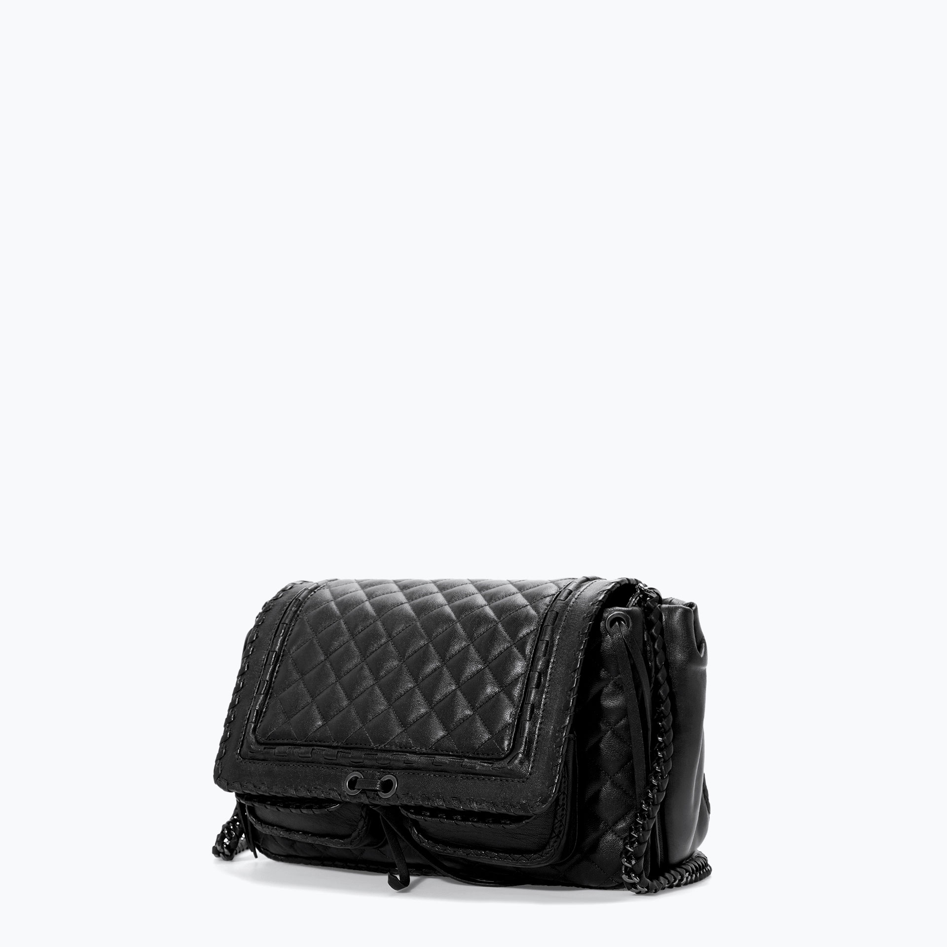 Zara Quilted Leather City Bag In Black Lyst