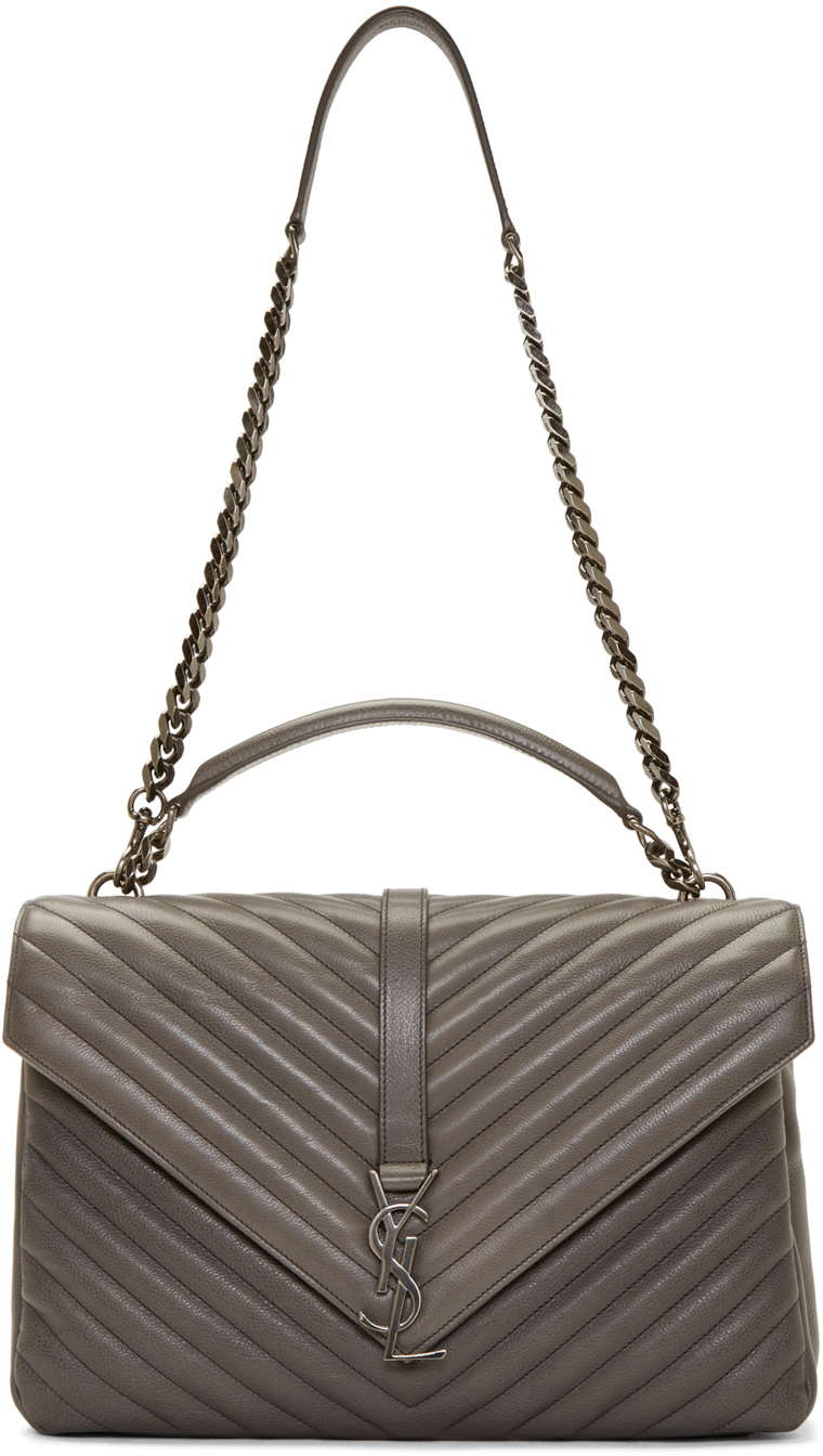 Saint Laurent Monogram College Small Quilted Leather