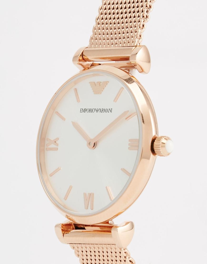 Lyst - Emporio Armani Rose Gold Mesh Gianni Watch in Metallic 125c21e2e5b1