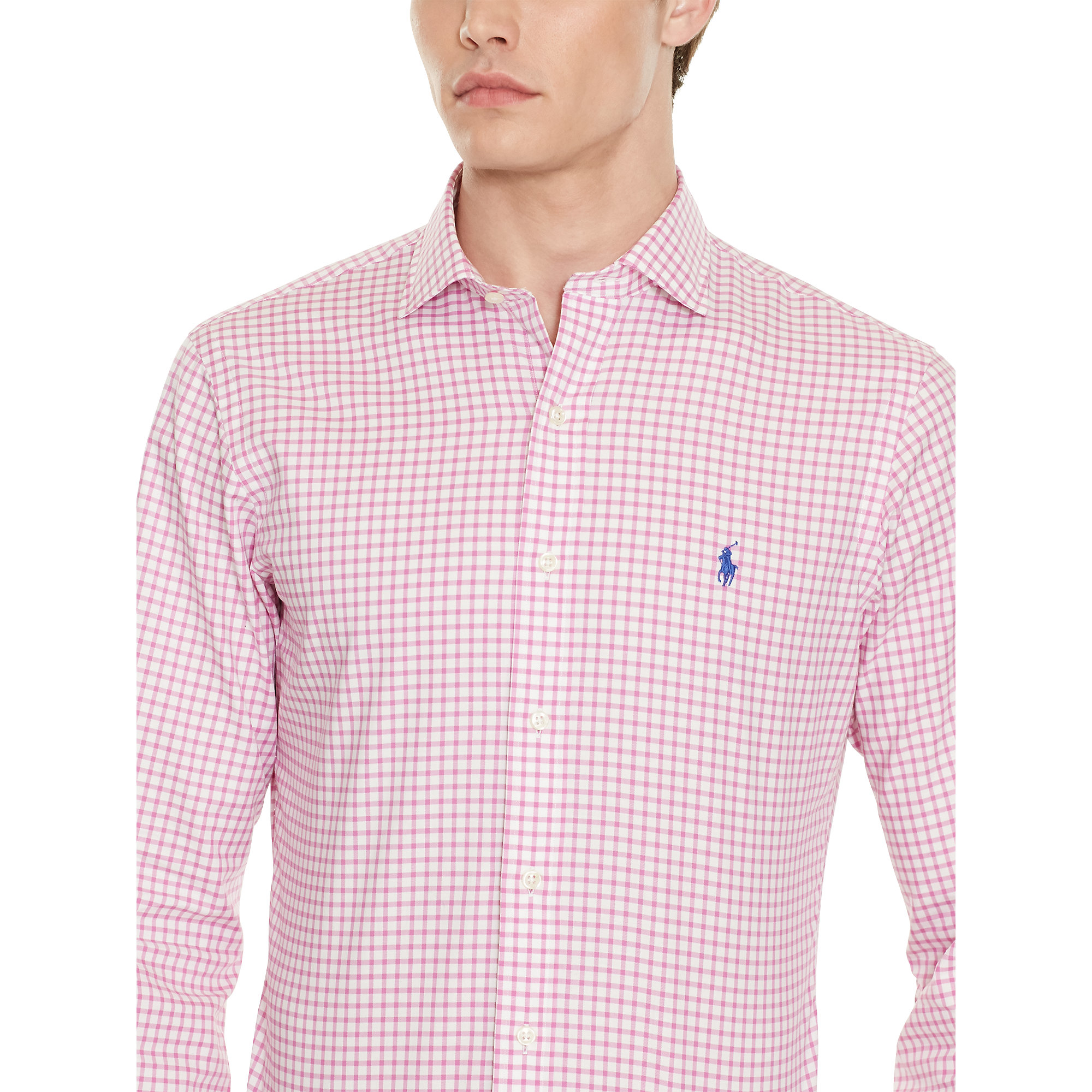 lyst polo ralph lauren slim fit gingham twill shirt in