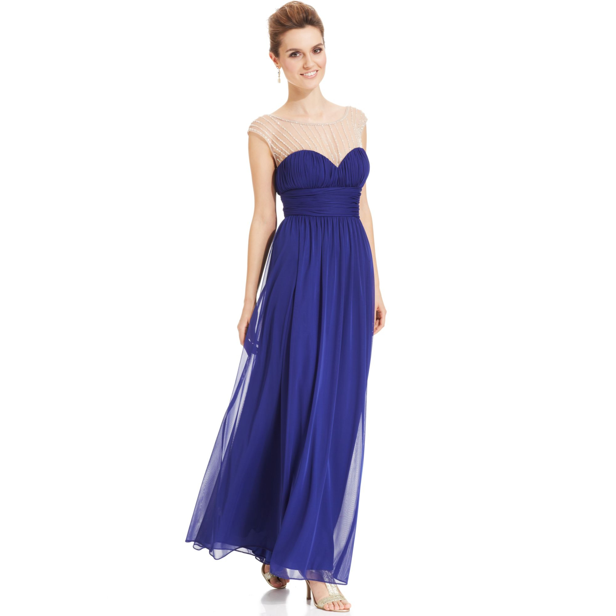 Xscape Beaded One Shoulder Dress