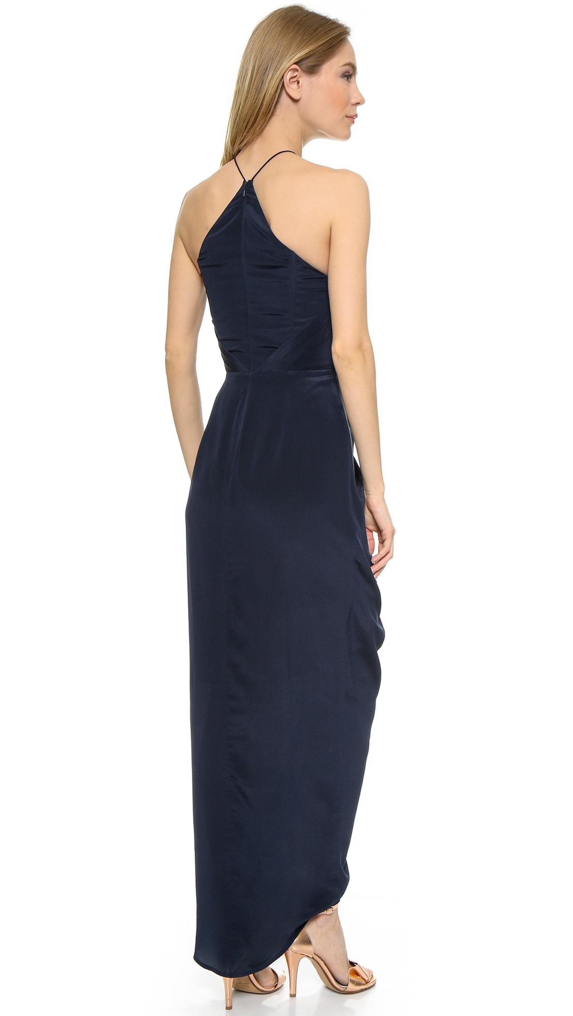 Zimmermann Silk Tuck Long Dress - French Navy in Blue - Lyst