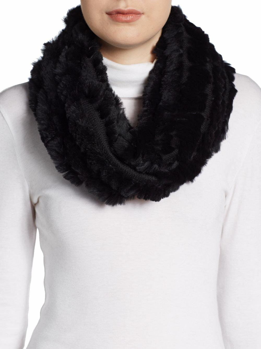 saks fifth avenue rabbit fur eternity scarf in black lyst