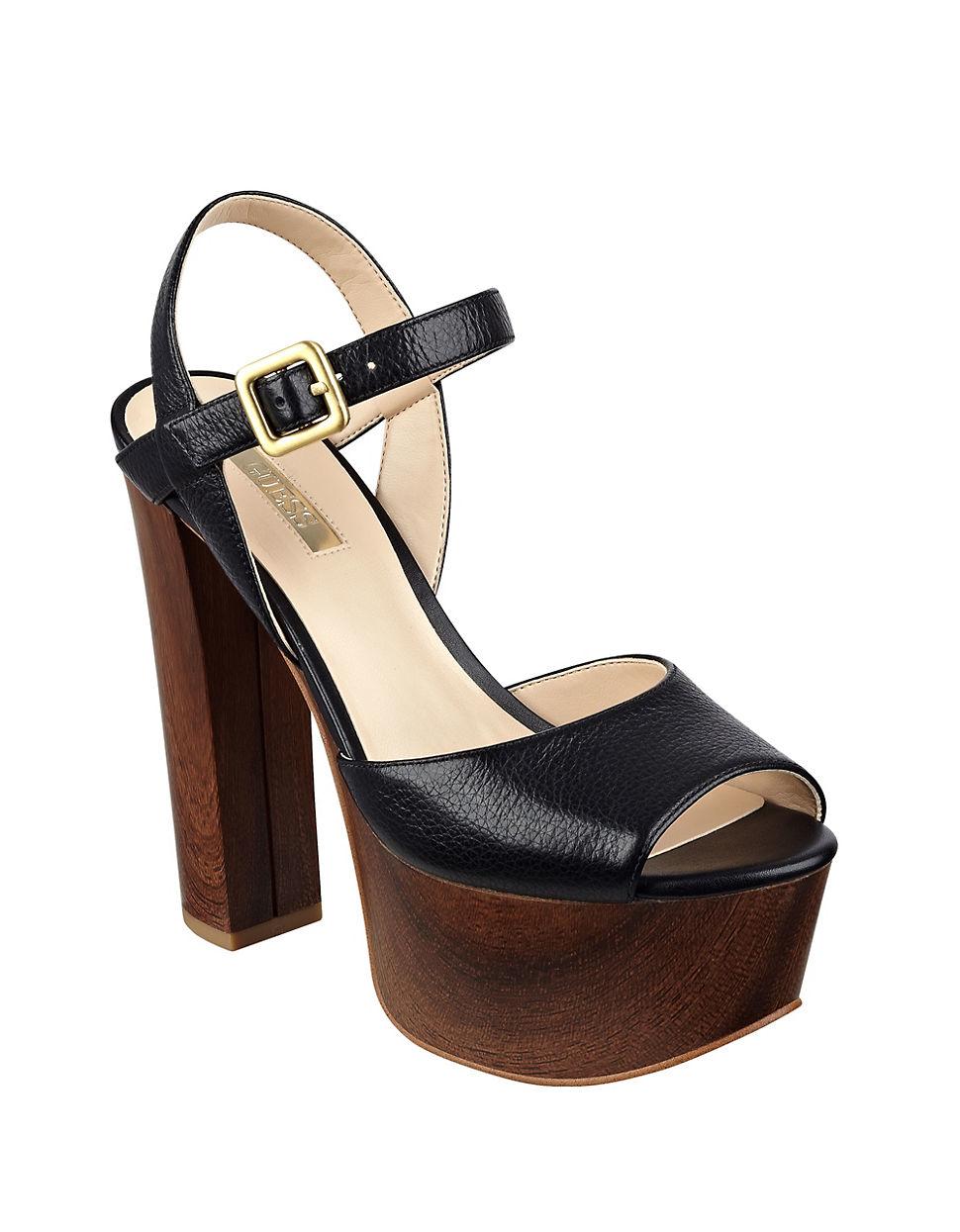 guess den platform sandals in black lyst