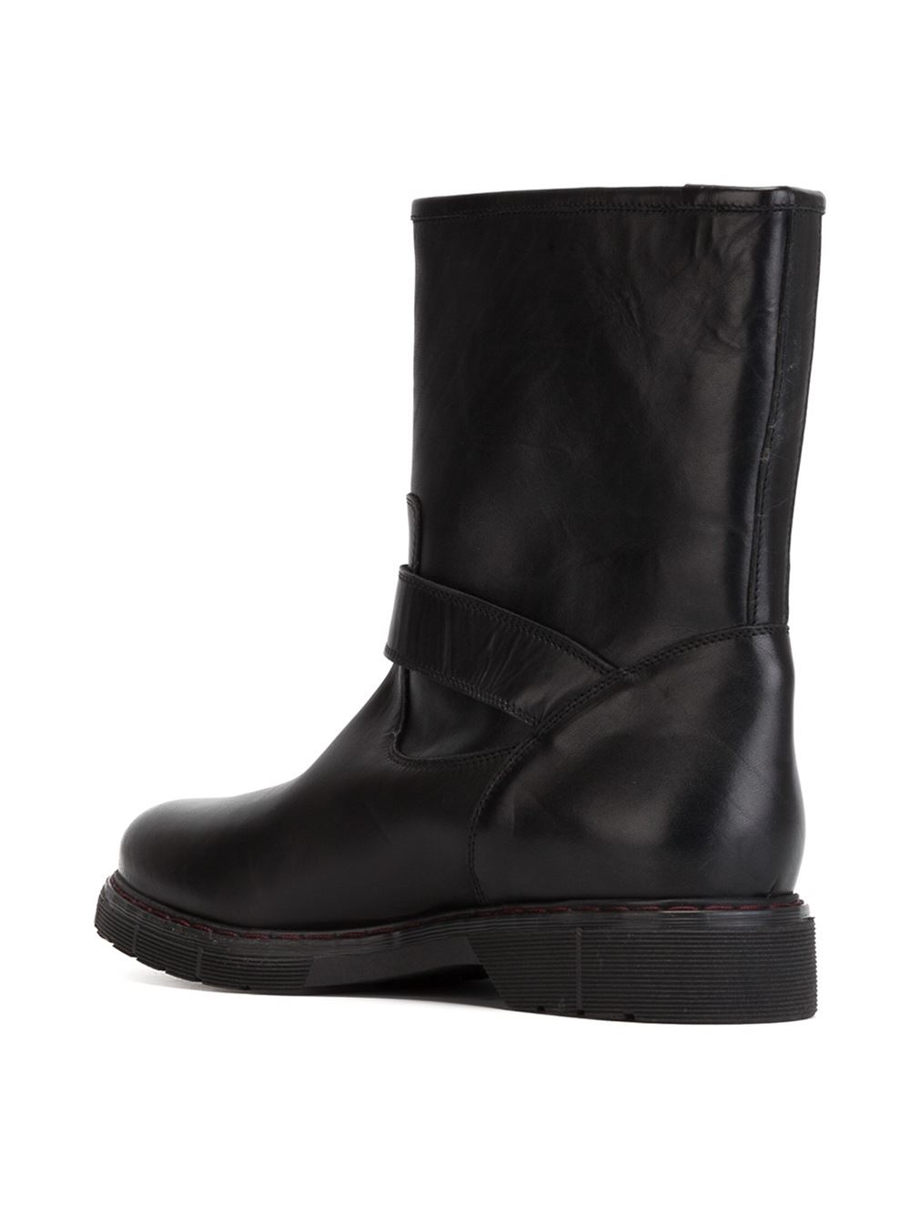 L\'autre chose Buckled Biker Boots in Black | Lyst