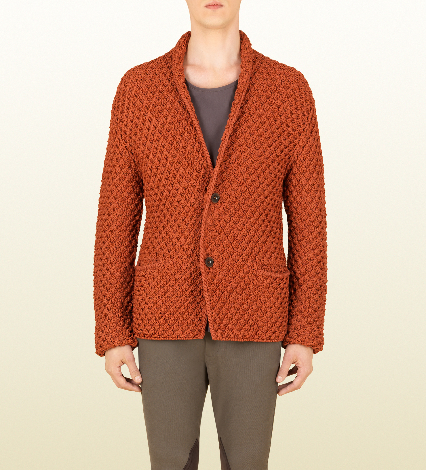 Gucci Coral Knit Cotton Cardigan in Orange for Men | Lyst