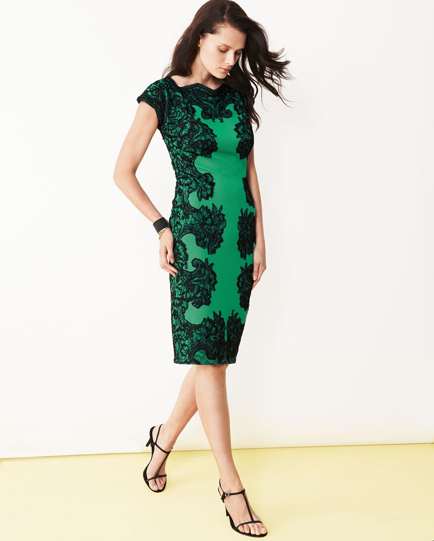 Tadashi shoji Embroidered Lace Sheath Dress in Green | Lyst