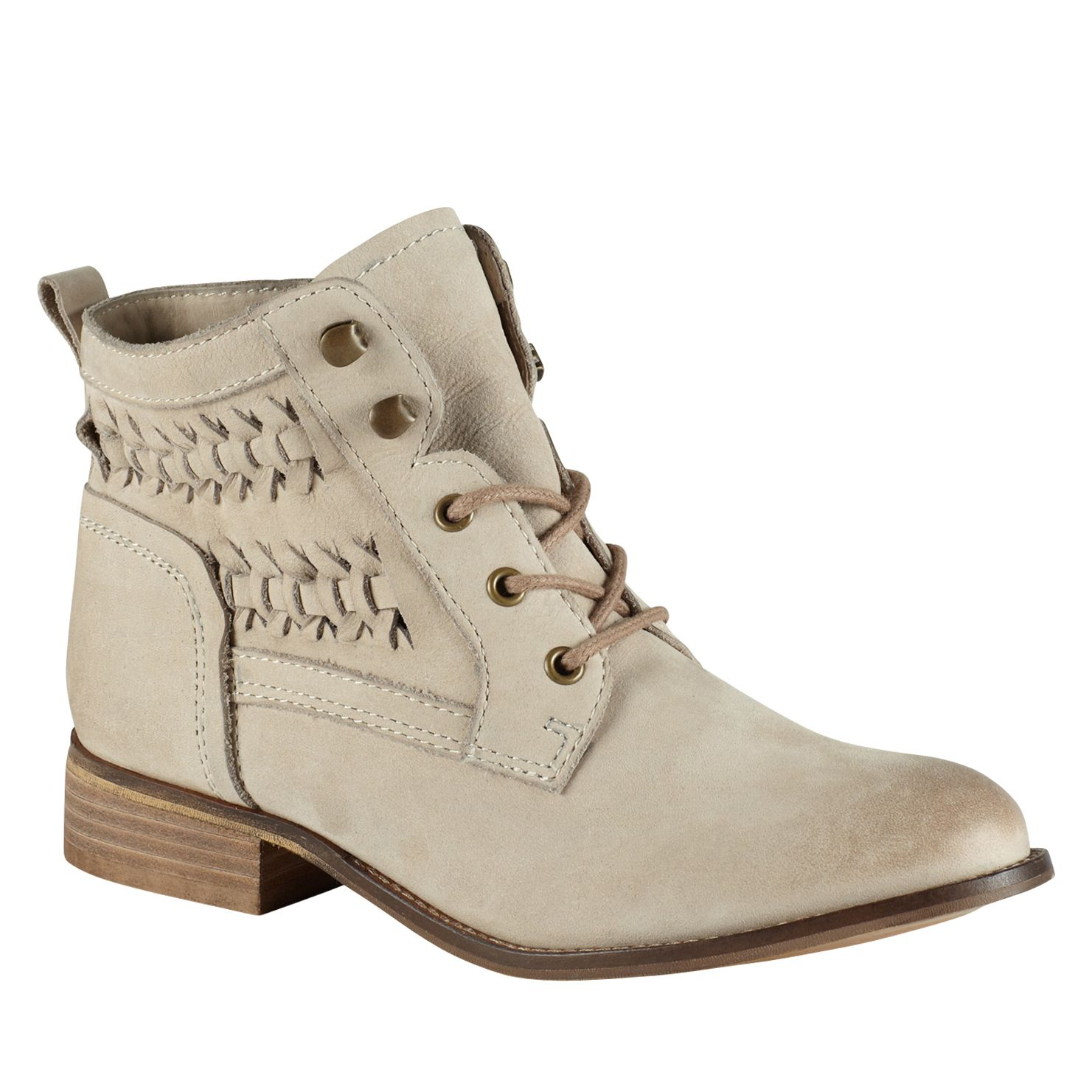 aldo wirasien almond toe lace up boots in beige brown lyst