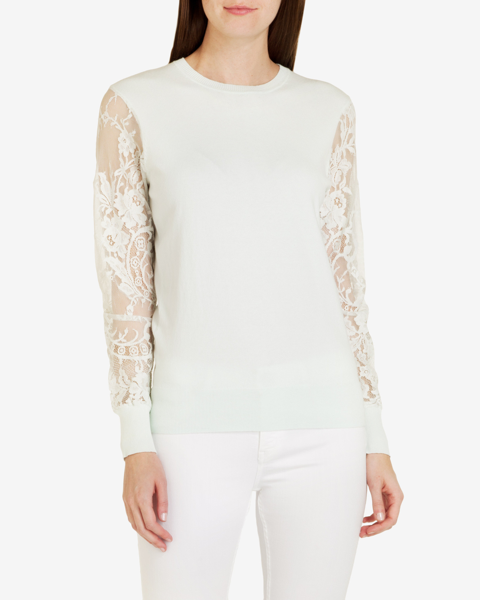 9c5509bdf Lyst - Ted Baker Lace Detail Sweater in Green