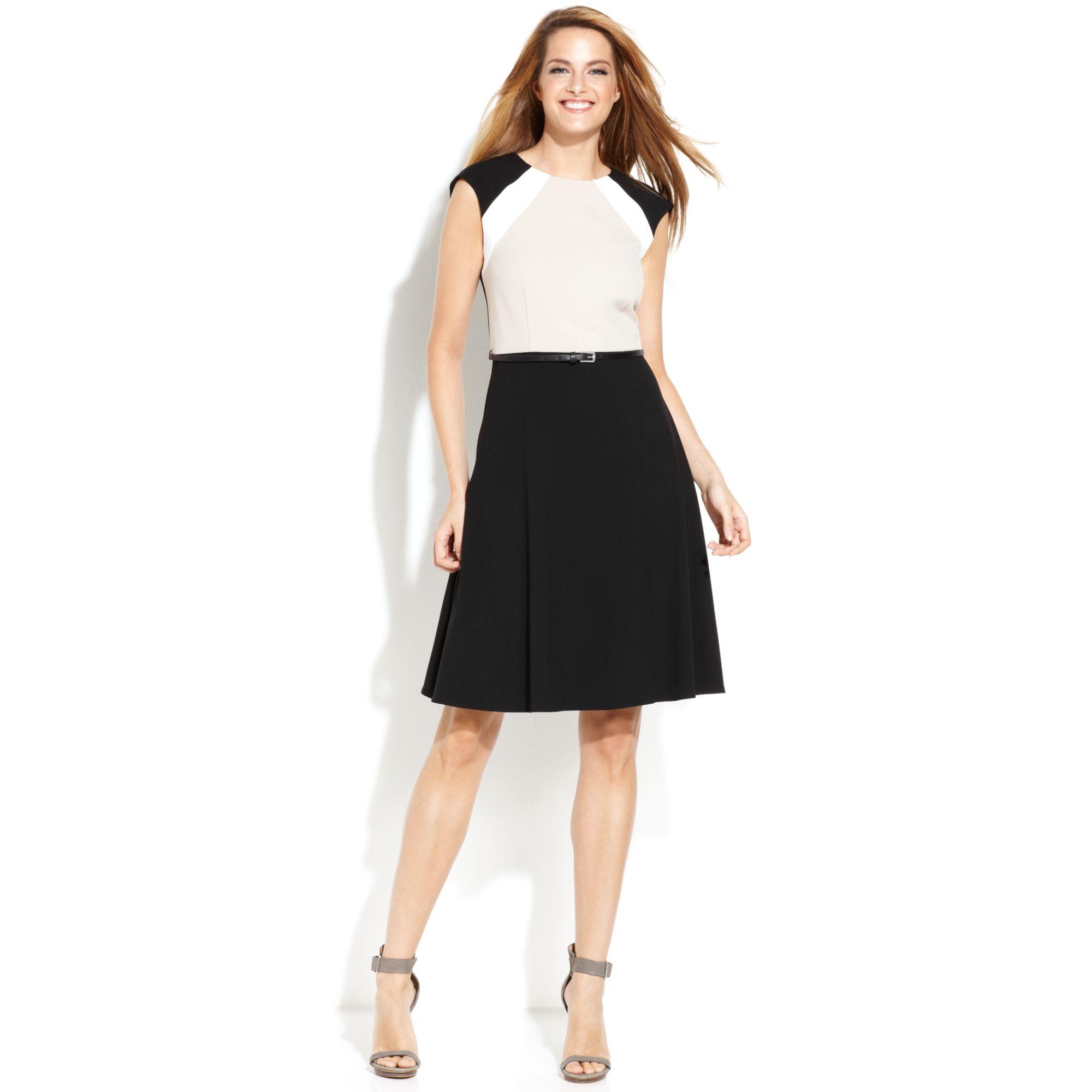Calvin Klein Sleeveless Belted Colorblock Dress In Black