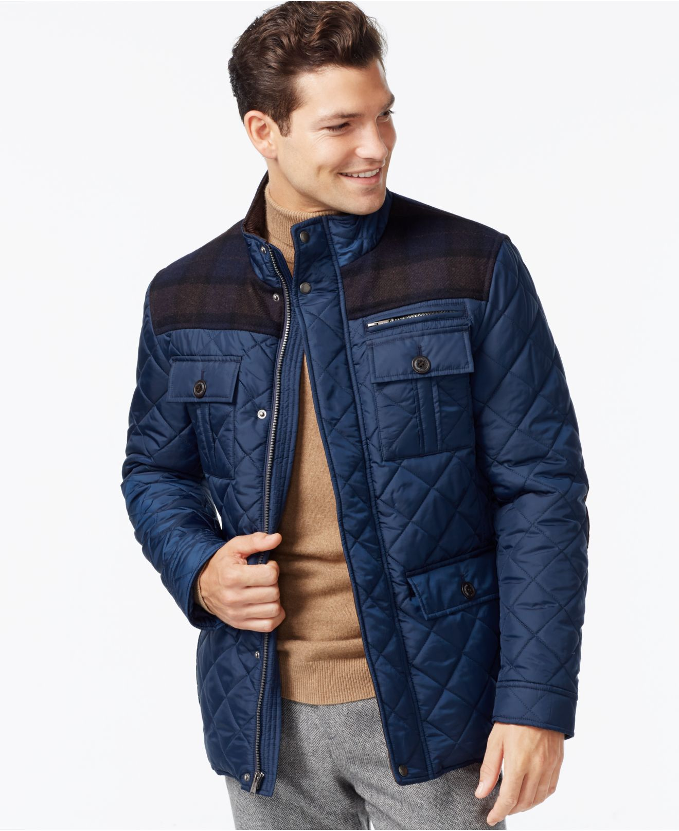 cole haan mixed media quilted jacket in blue for men lyst. Black Bedroom Furniture Sets. Home Design Ideas