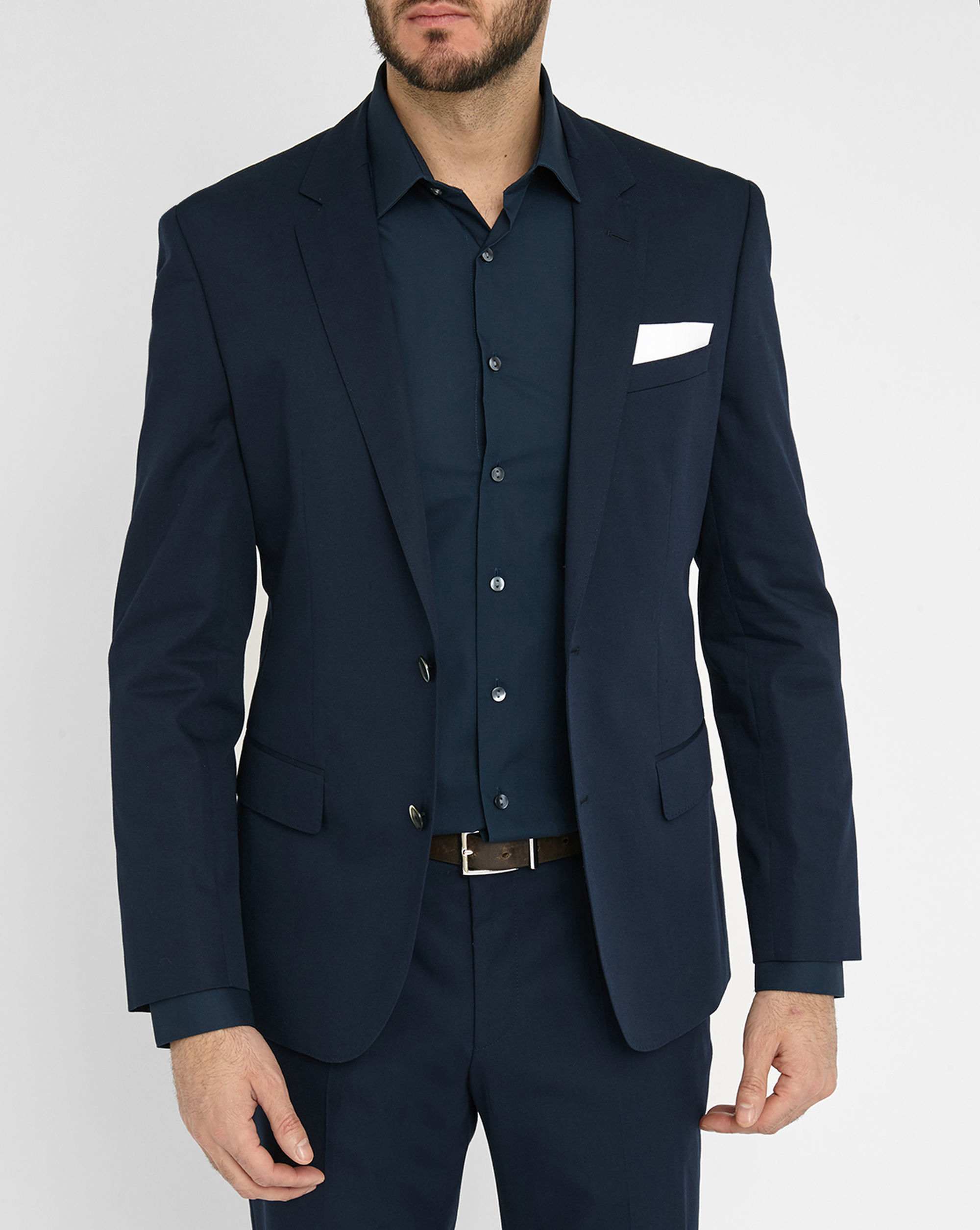 hugo blue hutson fitted cotton suit in blue for men lyst. Black Bedroom Furniture Sets. Home Design Ideas