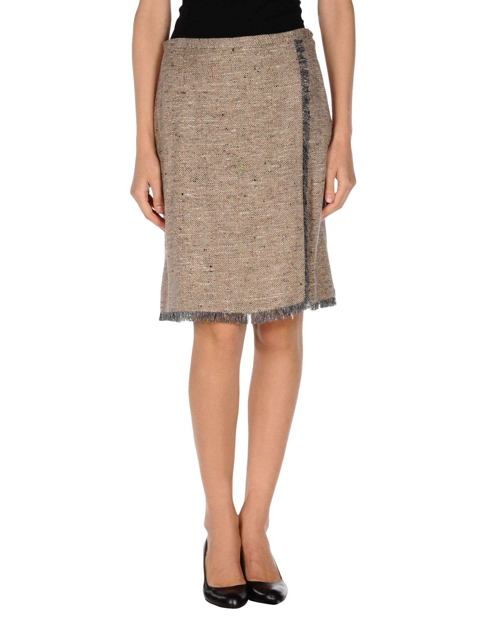 boutique moschino knee length skirt in khaki lyst