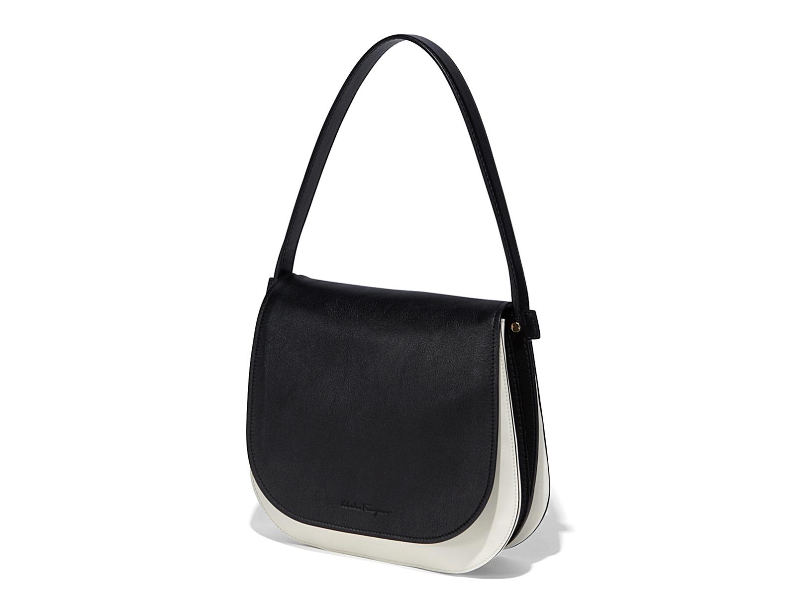 e2248bb6e309 Lyst - Ferragamo Bicolor Gancio Shoulder Bag in Black