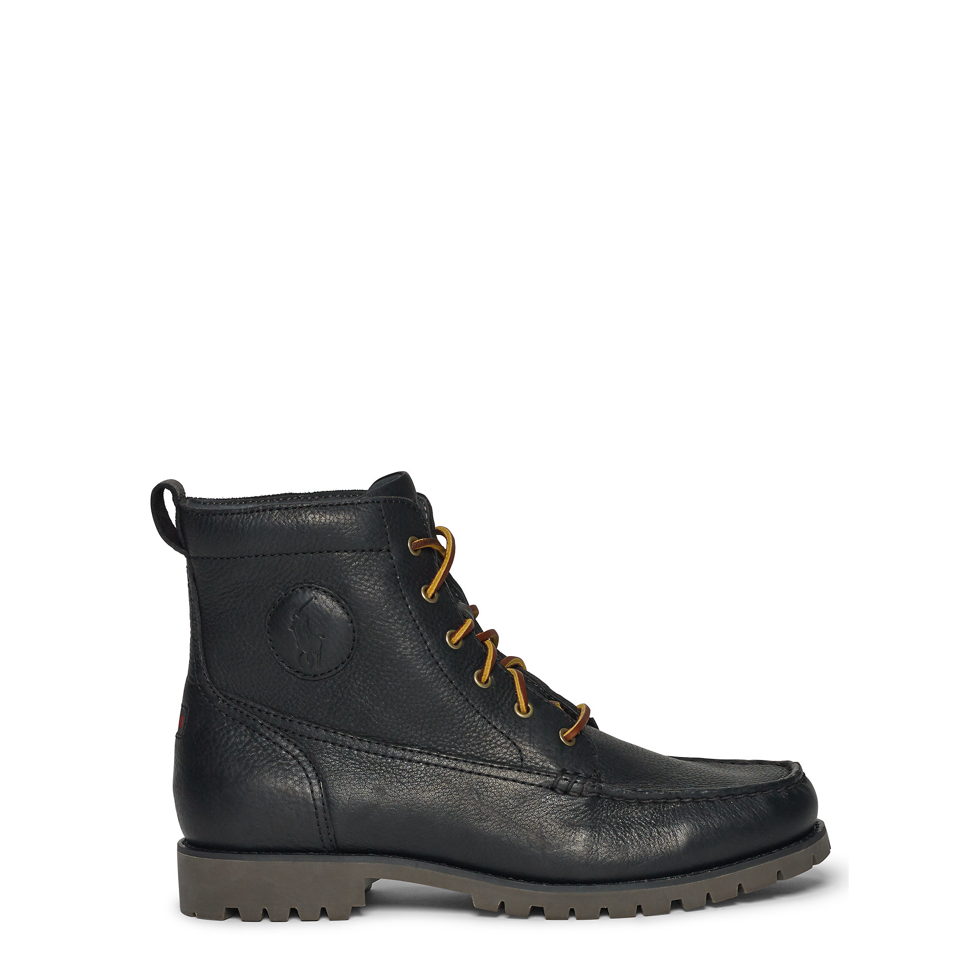 polo ralph rodway leather work boot in black for