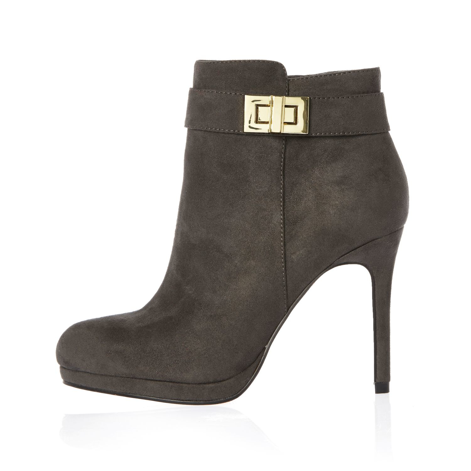 River island Grey Turnlock Heeled Ankle Boots in Gray | Lyst