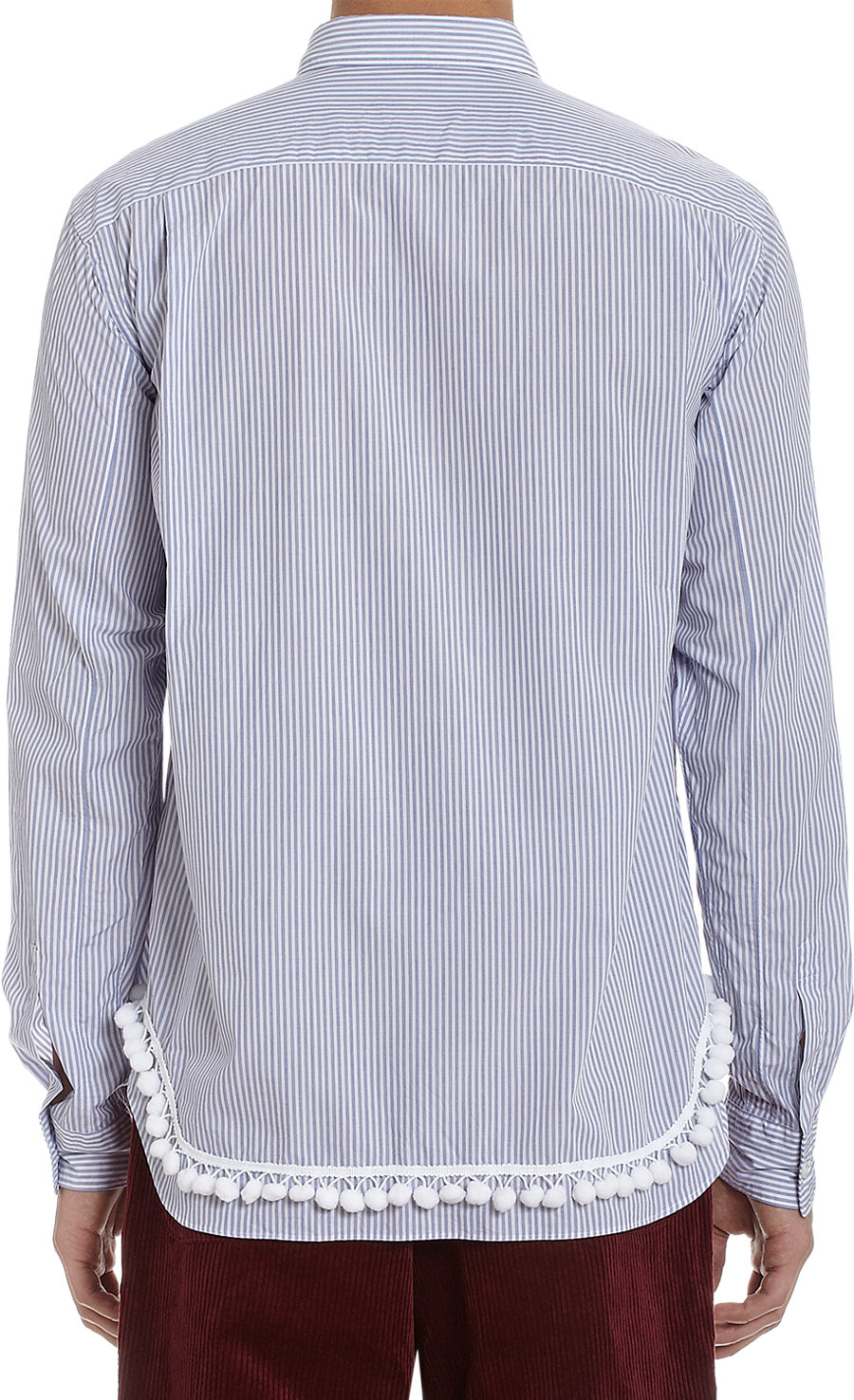 Lyst comme des gar ons fringe bottom shirt in blue for men for Mens shirt with tassels