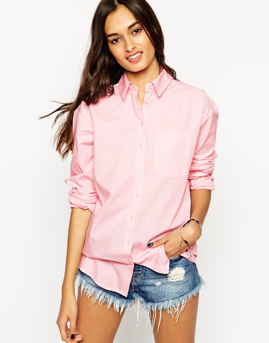 Asos Boyfriend Shirt in Pink   Lyst