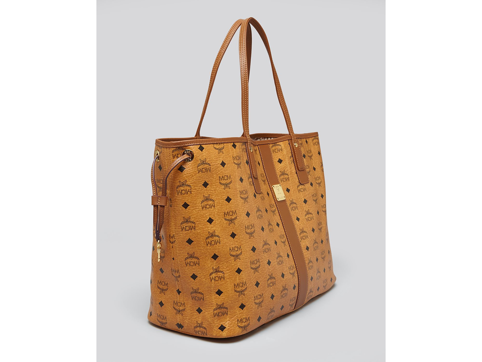 7668dbdb01b4 Lyst - MCM Tote - Heritage Liz Reversible Shopper Large in Brown